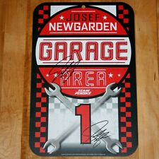 "Josef Newgarden SIGNED 2020 Team Penske 11""x17"" Plastic Indy Car Garage Sign 500"