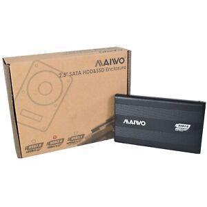 "Maiwo USB Powered USB 3 SATA 2.5"" Portable External Hard Drive Enclosure - Black"