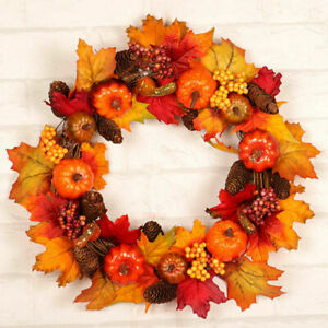 Artificial Pumpkin Maple Leaves Wreath Garland Autumn Holiday Front Door Decor