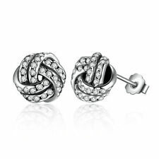 Solid 925 Sterling Silver Knot CZ Clear Pave Round Stud Earrings for Women/Girls