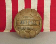 Vintage 1950s Leather International Netball Volleyball Official Great Display!