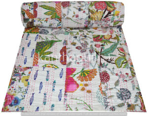 Handmade Patchwork Kantha Embroidery Queen Blanket Throw Indien Bedspread