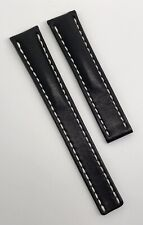 Authentic New Breitling 18mm x 16mm Black Leather Deployment Strap Band OEM 415X