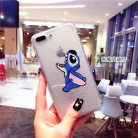 For iPhone 7 7Plus 6 6sPlus 5 SE Cartoon Funny Transparent Stitch Cute Soft case