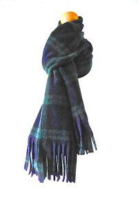 Green tartan scarf Black Watch tartan blue green Scottish plaid fleece wrap