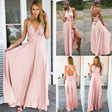 Women Bridesmaid Dress Ladies Evening Party Long Gown Infinity Cross Strap