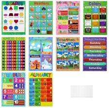 10X Educational Preschool Poster Charts Preschoolers Toddlers Learning Materials