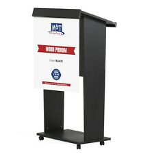 M&T Displays Stand up Lectern, Floor-Standing Podium, Poster Fast, Shelf, Wheels
