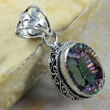 "Handmade Rainbow Mystical Fire Topaz 925 Sterling Silver Pendant 1.75"" #E90392"
