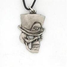 Estaño Inglés-vagones Calavera-Colgante Collar esqueleto de la muerte