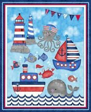 Anchors Away Panel 4070-11 Cotton Quilt Fabric Studio E  Sharla Fults