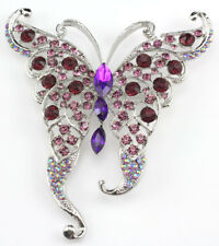 Purple Exquisite Butterfly Austrian Rhinestone Crystal Bridal Wedding Brooch Pin