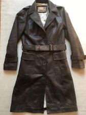 Beautiful Retro Louche Joy Store Dark Grey Leather Long Trench Belt Coat Medium