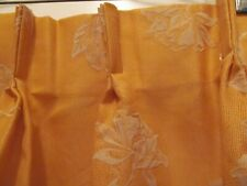 Vintage Retro MCM Pair of Curtains Pinch Pleated Floral Orange w White Flowers