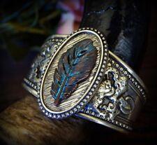 BOHO Copper Patina Verdigris Vintage Metal Leaf Silver Burnished Cuff Bracelet