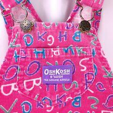 Vtg Oshkosh Bgosh Overalls Girls 5 80s Pink Corduroy Alphabet Letters  USA
