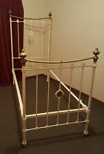 ANTIQUE VICTORIAN CAST IRON AND BRASS SINGLE BED