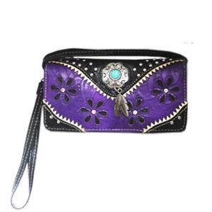 New Ladies Purse - Western Themed - Purple Faux Leather - [MW158PU] ladies purse