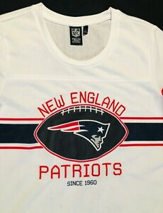 New England Patriots Womens NFL Team Apparel Mesh White Jersey Shirt Sz. L