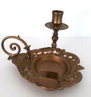 Rare Vtg Ornate Brass? Candle Stick Holder Finger Loop Match Holder Tray Italy