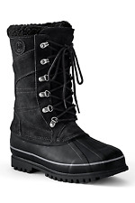 Lands'end Mens UK 10 Regular Black Suede Snow Pac Water Resistant Boots New