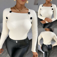 Womens Long Sleeve Knitted Sweater Tops Button Casual Slim Fit Jumper Pullover