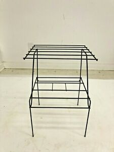 Vintage WIRE SIDE TABLE mid century modern metal plant stand end black rack 50s