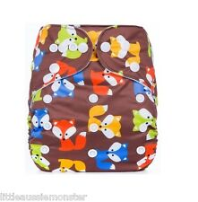 New Reusable Modern Cloth Nappy (MCN) + FREE insert – Brown Fox