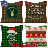 """4 Pack Throw PILLOW COVER Christmas Decorative Xmas Cushion Case 18x18"""" US"""