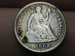 1869 S Seated Liberty Half Dime- VG Details