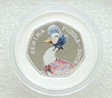2016 Beatrix Potter Jemima Puddle Duck - 50p Cinquanta Pence Argento PROOF MEDAGLIA BOX COA