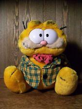 "Vintage Plush Garfield, Plaid Jacket & Polka Dot Bow-Tie - 8.5"" - Nice!"