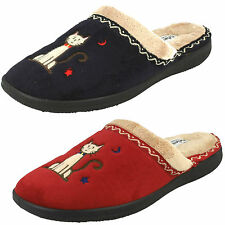Padders Tabby Memory Foam Mule Cat Slippers EE Fitting  Navy And Red Sizes 3-8