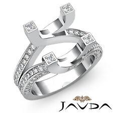 Pave Set Diamond Engagement Semi-mount Ring in 18k White Gold