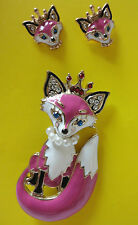 Earrings and Pin Brooch Set Nwt Betsey Johnson Pink & White Enamel Fox