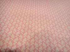 Breast Cancer Tiny Pink Ribbons LOVE & HOPE Cotton Fabric Light Pink