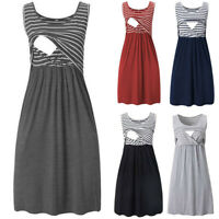 Women Pregnancy Maternity Nursing Summer Stripe Tunic Tank Vest Sleeveless Dress