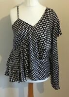Next Size 12 Ladies Black Top With Red & White Print Detail, BNWT