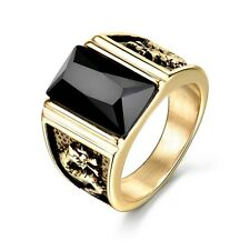 Rectangle Black Crystal Onyx Gold Filled Dragon Relief Stainless Steel Men Rings
