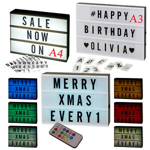 A3 or A4 LED Light Up Message Board Word Colour Display Sign Letter Symbol Box