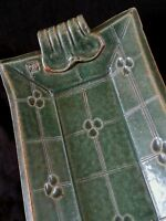 Vintage JP studio pottery green stoneware platter 12.5 inches