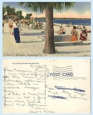 SPA Beach St. Petersburg Beach Florida 1944 Postcard Period Dress