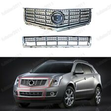 CHROME UPPER+BUMPER LOWER MESH GRILLE GRILL 2PCS For Cadillac SRX 2013-2015