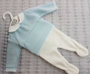 Pex GIOVANI knitted 2pc baby boys top and pants set - choose from white or blue
