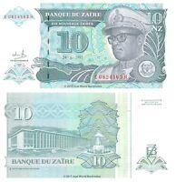 Zaire 10 Nouveaux Zaires 1993 P-55 Banknotes UNC