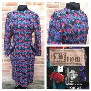 ORIGIN Vintage 80's Pure New Wool Floral Pencil Dress 12 Purple Velour Winter