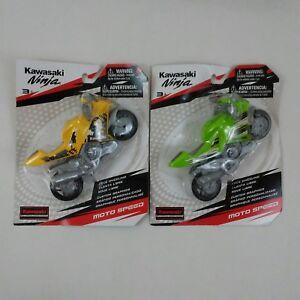 Lot of 2 Kawasaki Ninja Moto Speed Motorcycle Collectors Toy Yellow & Green