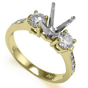 0.65 CWT DIAMOND THREE STONE ENGAGEMENT RING 18K TWO-TONE GOLD