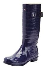 Ladies Purple Blue Crocodile Effect Premium Rubber Wellies Boots Dock of the Bay