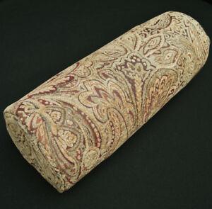 We601g Paisley Leaf Tan Chenille Bolster Cover Yoga Neck Roll Case*Custom Size